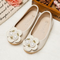 Girl's Real Leather Round Toe Closed Toe Flats With Imitation Pearl Flower