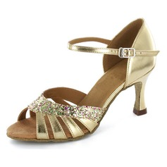Women's Patent Leather Heels Sandals Latin Wedding Party With Flower Dance Shoes