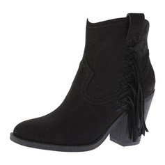 Women's Suede Chunky Heel Boots Ankle Boots With Tassel shoes