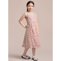 A-Line/Princess V-neck Tea-Length Lace Junior Bridesmaid Dress With Ruffle