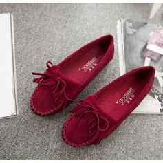 Women's Suede Flat Heel Flats With Ruffles Tassel shoes