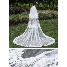 Three-tier Lace Applique Edge Cathedral Bridal Veils With Applique