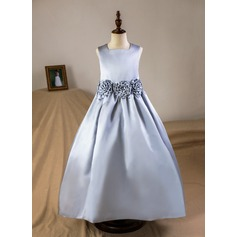 A-Line/Princess Floor-length Flower Girl Dress - Satin Sleeveless Square Neckline With Flower(s) (Petticoat included) (010093745)