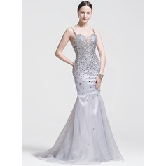 Trumpet/Mermaid Sweetheart Sweep Train Organza Evening Dress With Beading