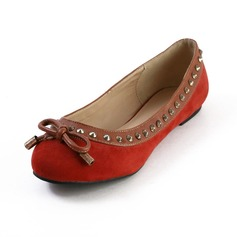 Leatherette Flat Heel Flats Closed Toe With Bowknot Rivet shoes