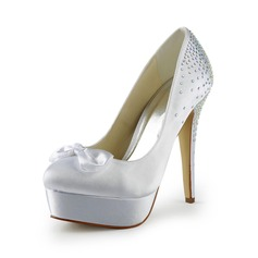 Women's Satin Stiletto Heel Closed Toe Platform Pumps With Bowknot Rhinestone