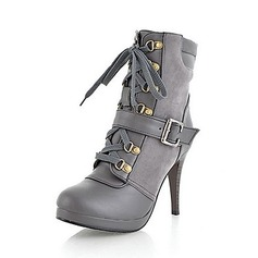 Leatherette Stiletto Heel Pumps Platform Closed Toe Boots Ankle Boots With Buckle Lace-up shoes