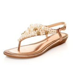 Real Leather Flat Heel Sandals Flats With Imitation Pearl shoes