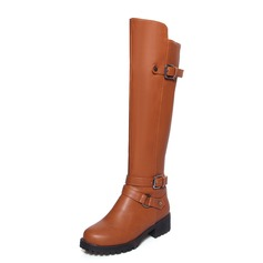 Women's Leatherette Flat Heel Knee High Boots shoes