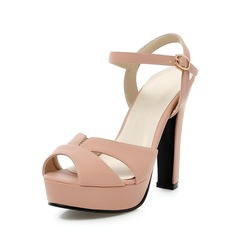 Leatherette Chunky Heel Sandals Peep Toe shoes