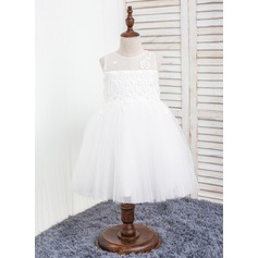 A-Line/Princess Knee-length Flower Girl Dress - Polyester/Chinlon Sleeveless Scoop Neck With Appliques/Bow(s)