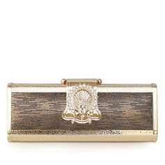 Elegant Metal/PU With Floral Print Clutches/Evening Handbags