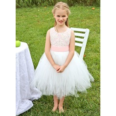 A-Line/Princess Tea-length Flower Girl Dress - Satin/Tulle Sleeveless Scoop Neck With Appliques/Bow(s)