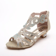 Girl's Leatherette Low Heel Peep Toe Sandals With Rhinestone (207101853)