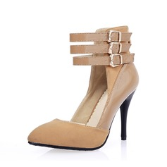 Suede Leatherette Stiletto Heel Pumps Closed Toe With Buckle shoes