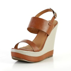 Leatherette Wedge Heel Sandals Wedges Slingbacks With Buckle shoes