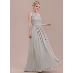 A-Line/Princess Scoop Neck Floor-Length Chiffon Lace Bridesmaid Dress With Ruffle (007116655)
