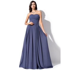 A-Line/Princess Sweetheart Sweep Train Chiffon Evening Dress With Ruffle
