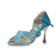 Women's Sparkling Glitter Heels Latin Ballroom With Rhinestone Dance Shoes