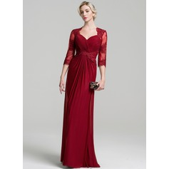 A-Line/Princess Sweetheart Floor-Length Jersey Mother of the Bride Dress With Appliques Lace