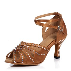 Women's Canvas Heels Sandals Latin With Hollow-out Dance Shoes