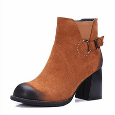 Women's Real Leather Chunky Heel Boots Ankle Boots With Buckle shoes