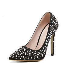 Women's Suede Stiletto Heel Pumps Closed Toe With Sparkling Glitter shoes