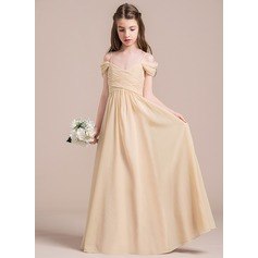 A-Line/Princess Off-the-Shoulder Floor-Length Chiffon Junior Bridesmaid Dress With Ruffle (009087895)