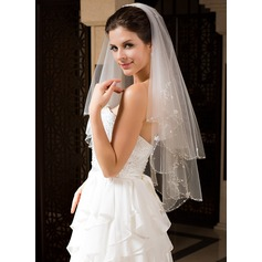Two-tier Elbow Bridal Veils With Beaded Edge (006034328)