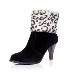 Suede Cone Heel Ankle Boots With Fur shoes