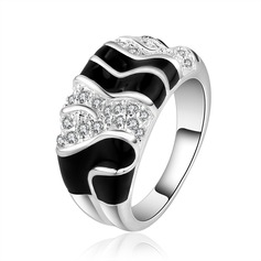 Beautiful Silver Plated Zircon Brass Ladies' Fashion Rings