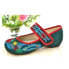 Cloth Low Heel Flats Closed Toe With Velcro shoes