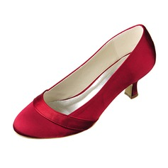 Women's Satin Kitten Heel Closed Toe Pumps