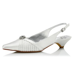 Women's Satin Low Heel Pumps Slingbacks Dyeable Shoes With Rhinestone