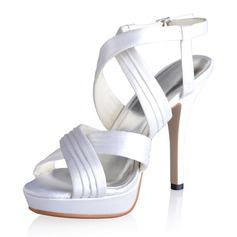 Women's Silk Like Satin Stiletto Heel Platform Sandals Slingbacks