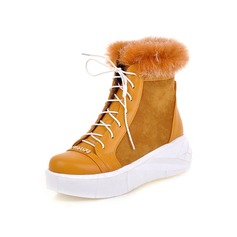 Women's Suede Leatherette Wedge Heel Snow Boots shoes