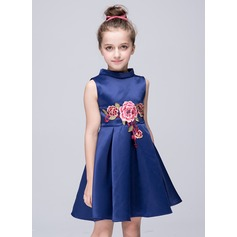 A-Line/Princess Short/Mini Flower Girl Dress - Polyester Sleeveless High Neck With Appliques
