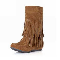 Women's Suede Low Heel Mid-Calf Boots With Tassel shoes