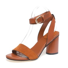 Women's Real Leather Chunky Heel Sandals Slingbacks shoes