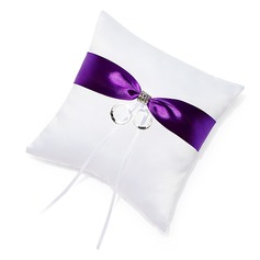 Lovely Ring Pillow in Satin With Ribbons/Rhinestones