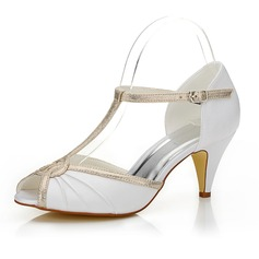 Women's Satin Cone Heel Peep Toe Sandals