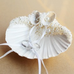 Grace Ring Pillow in Seashell With Ribbons/Faux Pearl