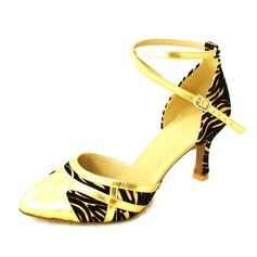 Women's Leatherette Suede Heels Pumps Modern With Ankle Strap Dance Shoes