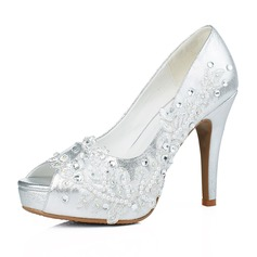 Women's Real Leather Stiletto Heel Peep Toe Platform With Imitation Pearl Lace-up