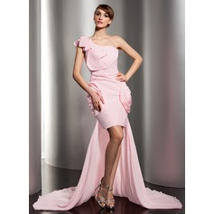 Sheath/Column One-Shoulder Asymmetrical Chiffon Prom Dress With Ruffle Flower(s)