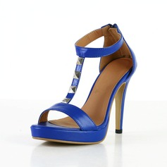 Leatherette Stiletto Heel Sandals Platform With Rhinestone shoes
