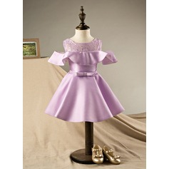 A-Line/Princess Knee-length Flower Girl Dress - Polyester/Cotton Short Sleeves Scoop Neck With Bow(s)