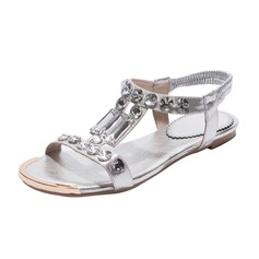 Women's Leatherette Flat Heel Sandals Slingbacks With Rhinestone shoes
