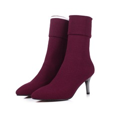 Women's Suede Stiletto Heel Mid-Calf Boots shoes
