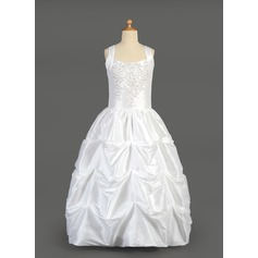 Ball Gown Floor-length Flower Girl Dress - Taffeta Sleeveless Scoop Neck With Beading/Sequins/Pick Up Skirt